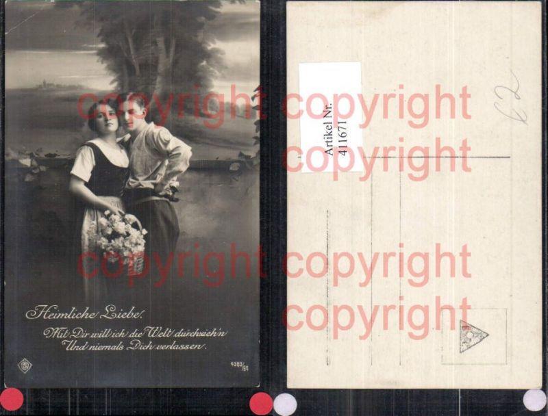 paar heimliche liebe umarmung spruch blumenkorb nr 411670 oldthing sonstige ansichtskarten. Black Bedroom Furniture Sets. Home Design Ideas