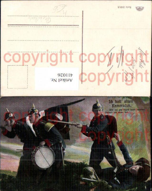 WW1 Soldaten Uniform Ich hatt einen Kameraden Trommel Pickelhaube Fahne