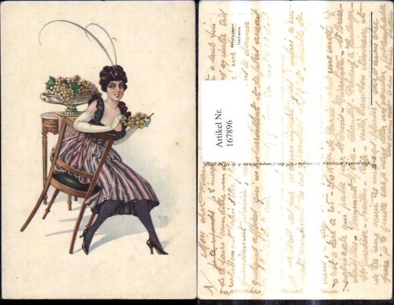 Künstler Ak Jugendstil Art nouveau Frau m. Hut Haube Mode a. Sessel Wein