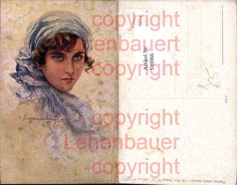 Künstler AK T. Corbella Frau Portrait Erotik