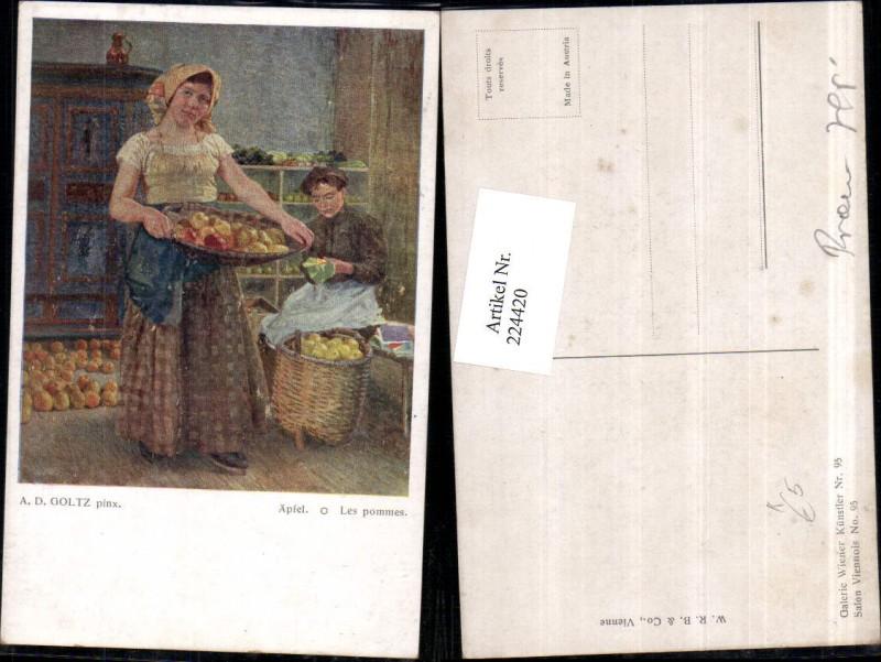 Künstler AK A. D. Goltz Äpfel Frau m. Korb Äpfel