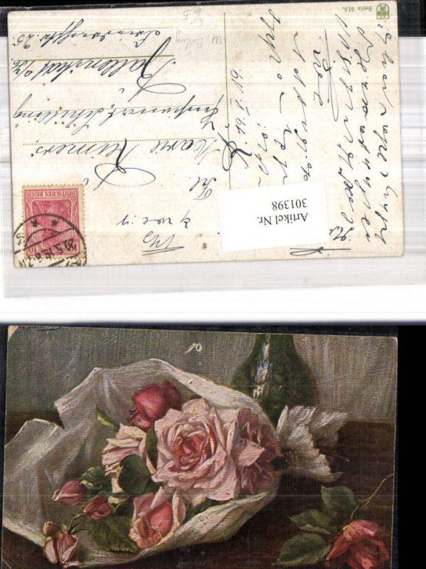 Künstler Ak M. Billing Rosenstrauß i. Papier Rosen Stillleben