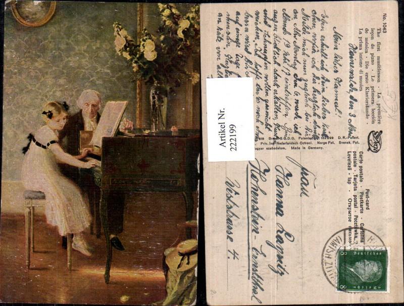 Degi AK 1043 Die erste Klavierstunde Klavier Mädchen m. Kleid