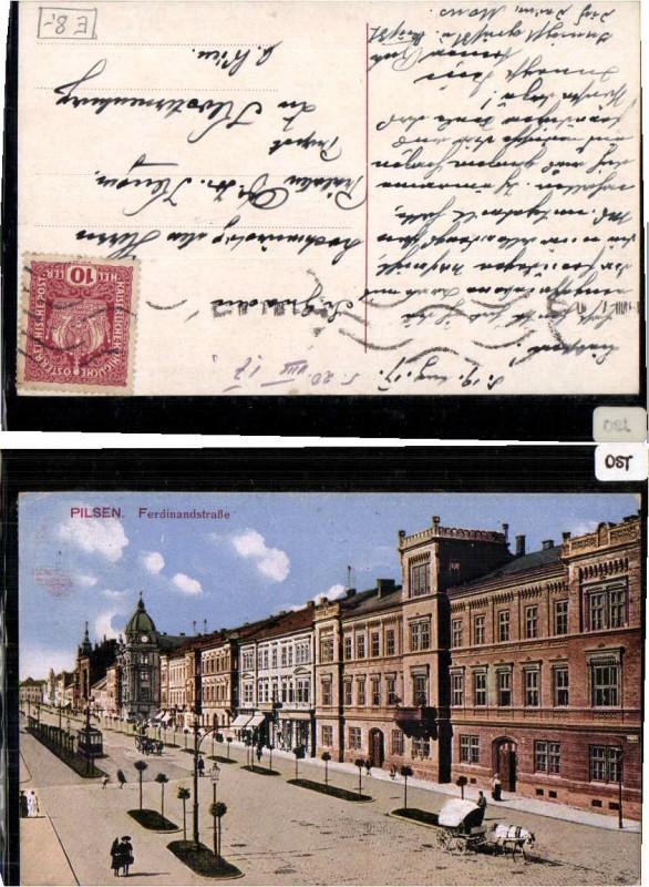 71064;Pilsen Plzen Ferdinandstrasse Partie 1915