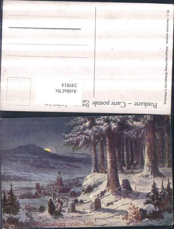 Künstler AK Neujahr Winterlandschaft Ortsansicht Wald