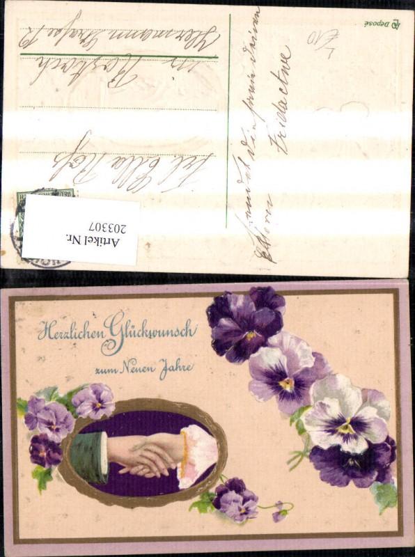 Präge Litho AK Neujahr Frau u. Mann geben sich die Hand Blumen Veilchen