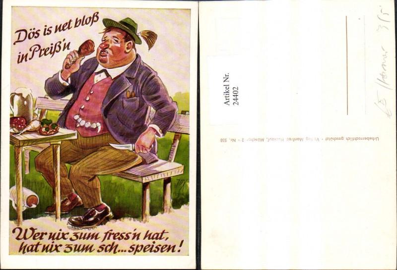 Künstler Ak Scherz Humor Dicker Mann isst Spruch Text