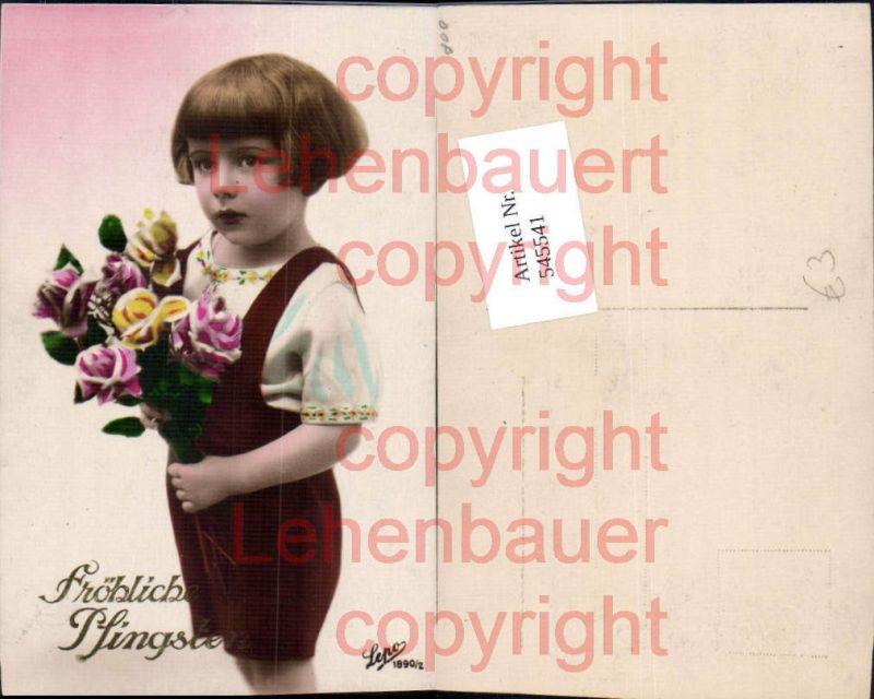 Foto-AK Kinder kleines Mädchen Blumen Pfingsten