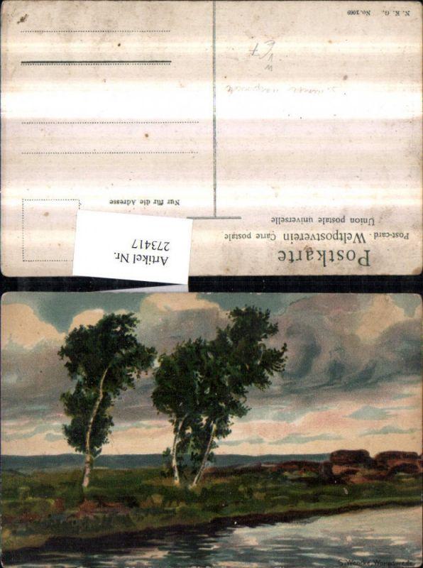 Künstler AK S. Wencke Worpswede Landschaft Birken