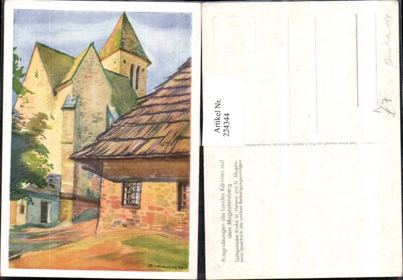 Künstler AK Prof. R. Kalcher Aquarell Kirche St. Helena u. St. Magdalena