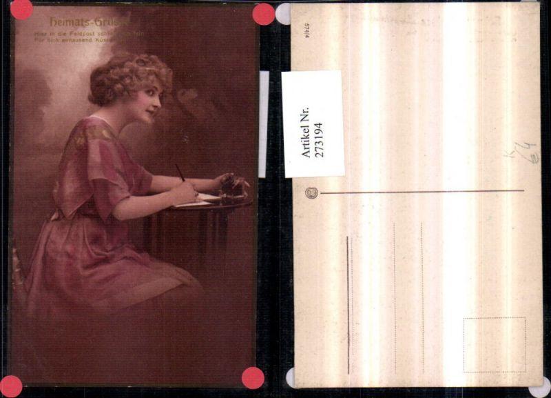 Künstler AK Frau m. Kleid schreibt einen Brief Feldpost Tinte