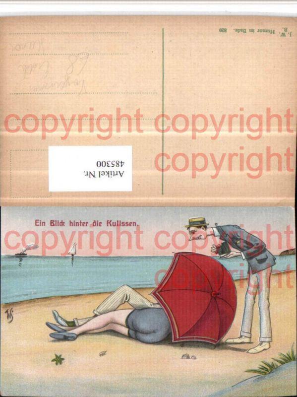 Künstler AK Voyeurismus Erotischer Humor Strand Schirm
