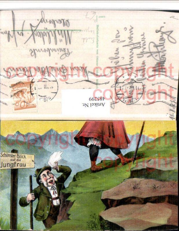 Künstler AK Erotischer Humor Voyeurismus Berge Blick auf die Jungfrau