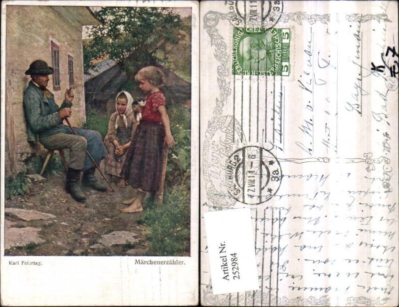 Künstler AK Karl Feiertag Märchenerzähler Kinder Katze pub B.K.W.I. 1092