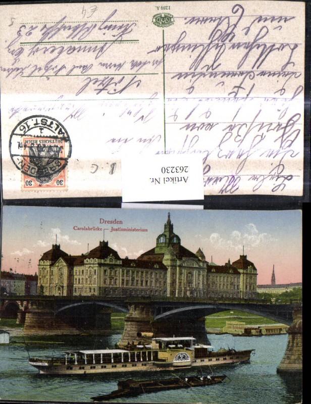 Schiff Binnenschiff Dampfer Dresden Carolabrücke Justizministerium Brücke