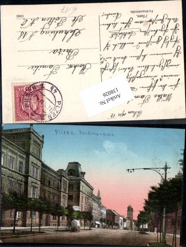 Pilsen Plzen Ferdinandstrasse Strassenpartie 1917