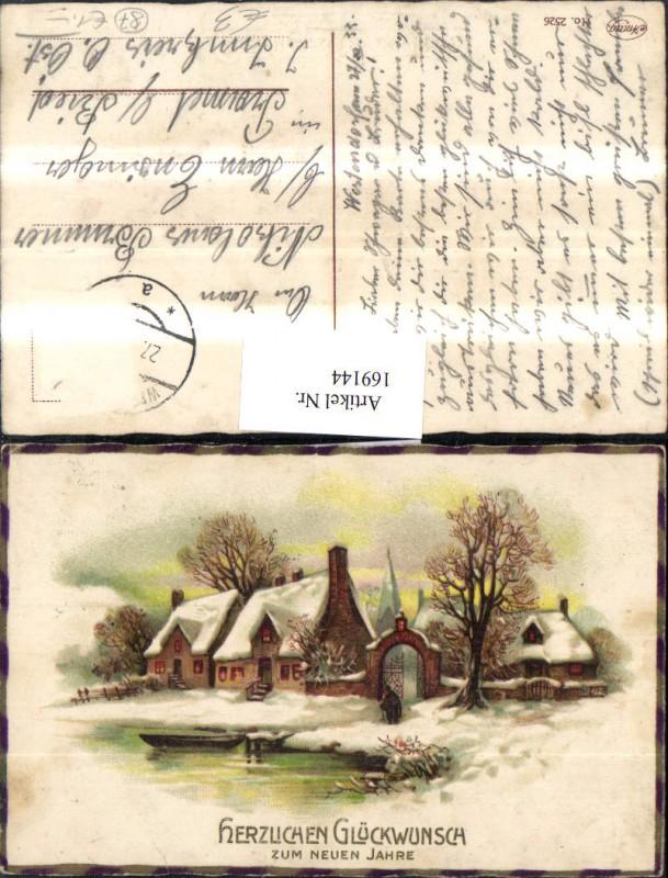 Neujahr Schneelandschaft Dorf Häuser Boot