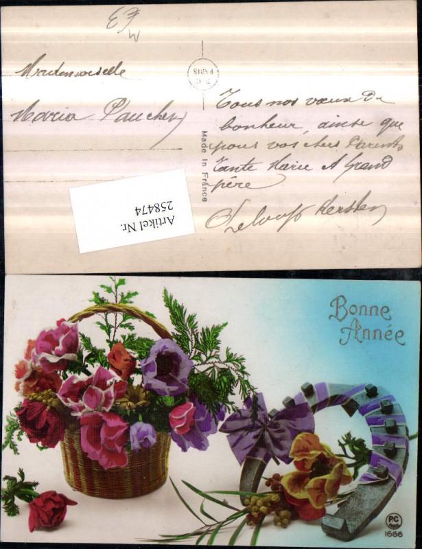 Hufeisen Schleife Blumen Nelkenart Korb