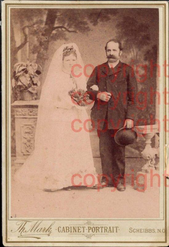 CDV Hochzeitspaar Hochzeit Brautpaar Portrait pub Theodor Mark Scheibbs