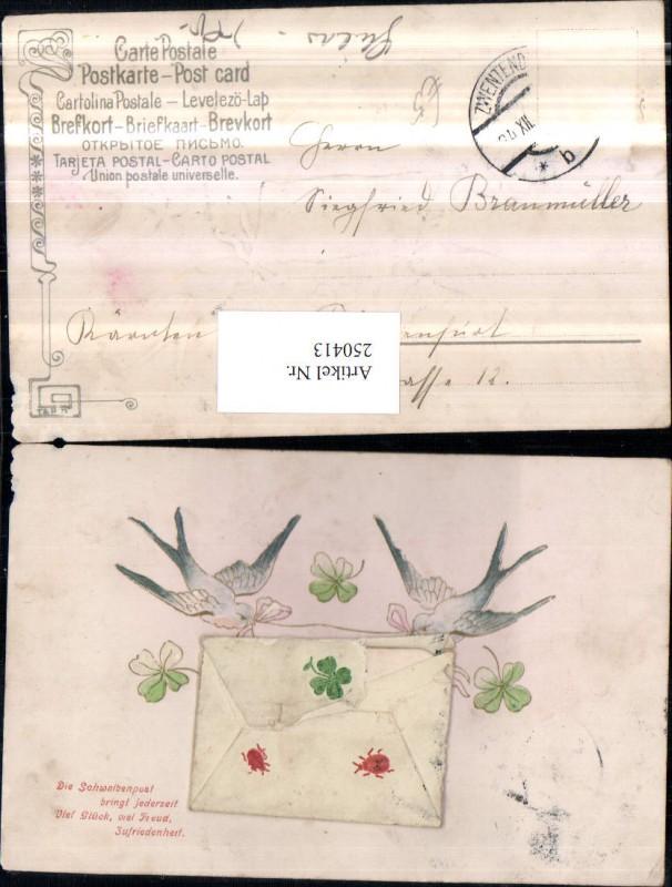 Präge AK Brief zum aufmachen Schwalben Kleeblätter Spruch