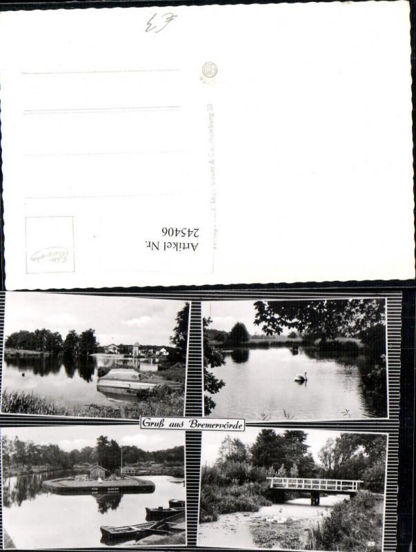 Gruß aus Bremervörde Partien Teich Brücke Schwan Ruderboot Mehrbildkarte