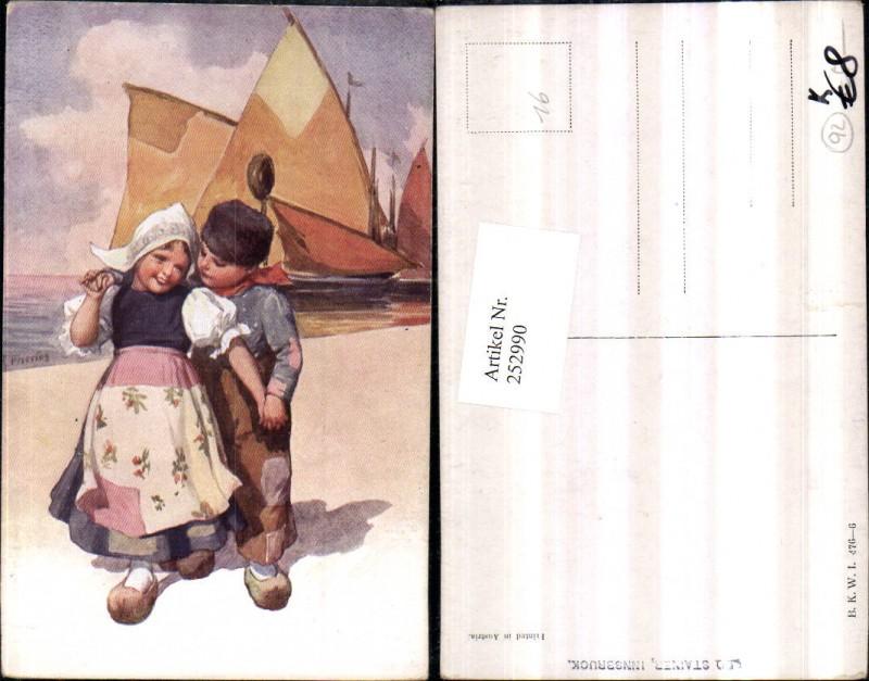 Künstler AK Karl Feiertag Holländische Tracht Kinder Pantoffeln Segelboot