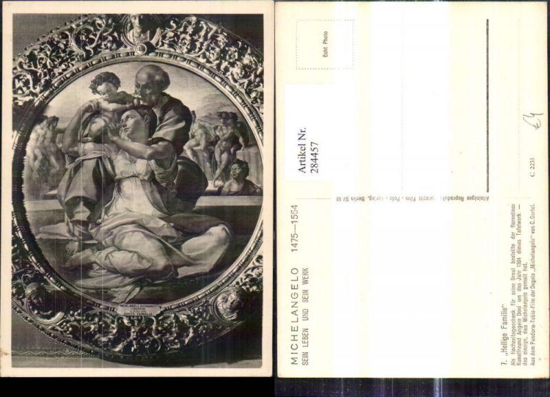 Foto Ak Gemälde Michelangelo Heilige Familie Religion