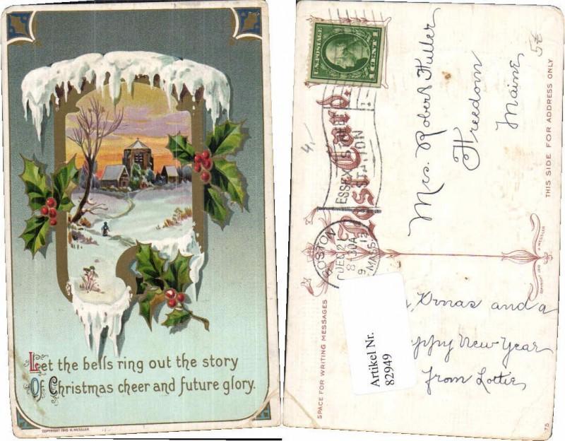 82949;Litho Weihnachten Jugendstil Spruch Eiszapfen Nr. 82949 ...