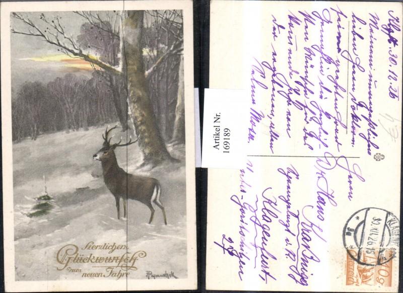 Neujahr Künstlerkarte Schneelandschaft Hirsch Wald