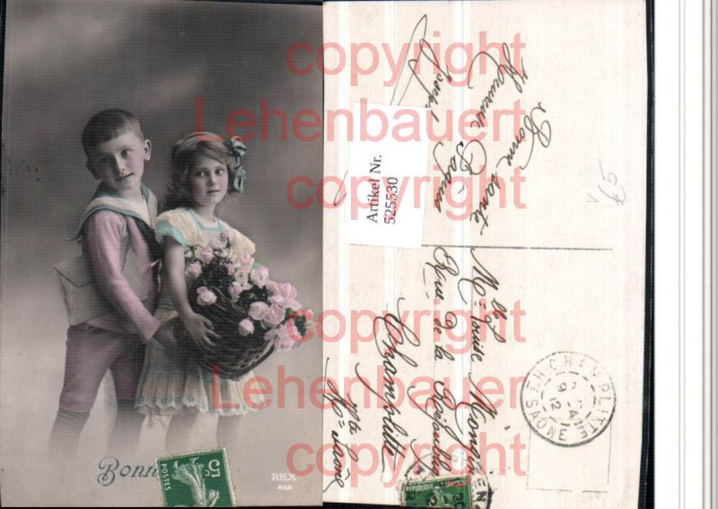 Foto-AK Matrosenanzug Matrose Anzug Mädchen Uniform Junge Blumen