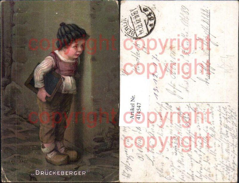Künstler Ak H. Kaulbach Drückeberger Kind Bub Junge m. Schultafel