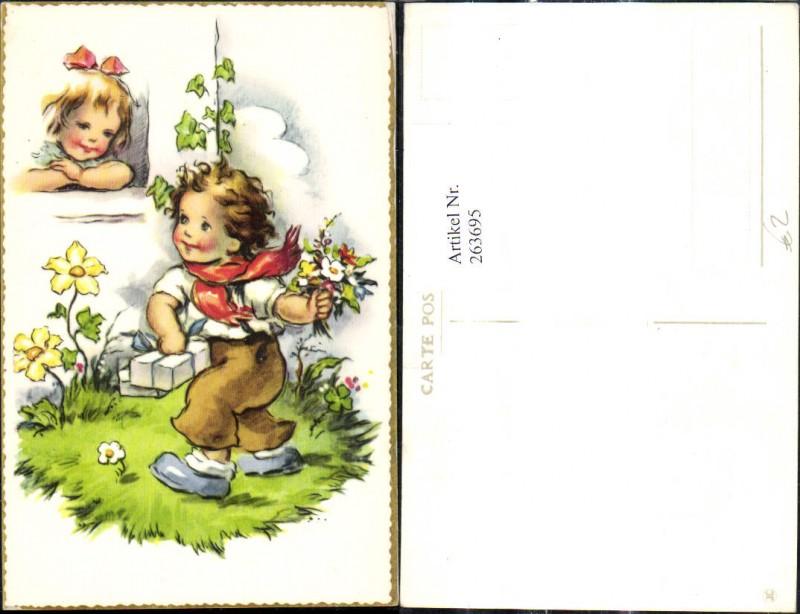 Künstler Ak Kinder Bub Junge m. Blumenstrauß v. Fenster Mädchen Geschenke