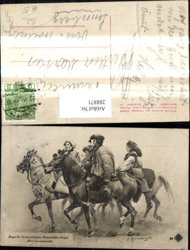 Künstler Ak Z. Ruzwadowski Trachten Frauen Männer a. Pferden Polnische Tr