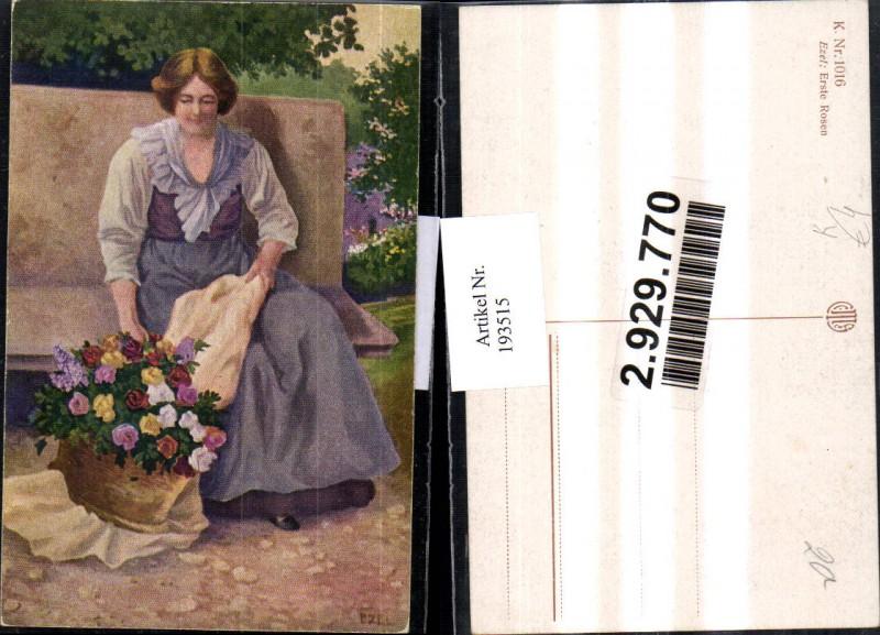 """Künstler AK Ezel 1016 """"Erste Rosen"""" Frau m. Kleid Rosen"""