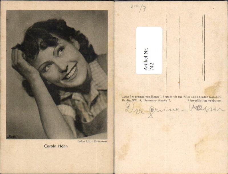 Autogrammkarte Carola Höhn