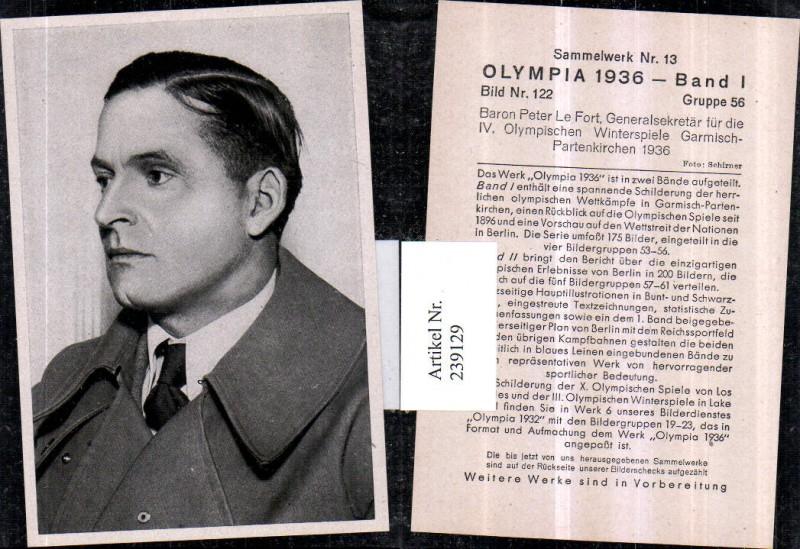 Sammelbild Olympia 1936 Gruppe 56 Bild 122 Generalsekretär Baron Peter Le