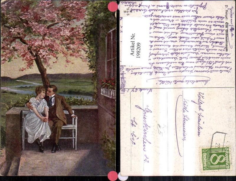 Künstler AK P. Kergel Ein Blütentraum Liebe Liebespaar auf einer Sitzbank