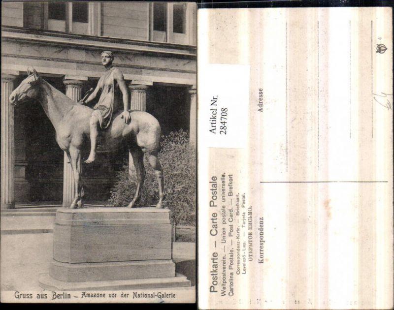 Gruß aus Berlin Amazone Statue vor der Nationalgalerie