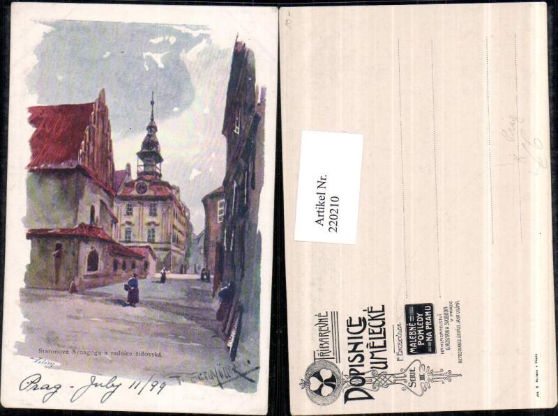 Künstler Litho AK F. Engelmüller Prag Praha Staronova Synagoga a radnice