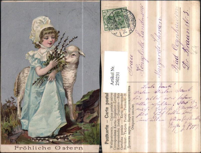 Ostern Mädchen m. Häubchen Kleid Schaf Lamm Palmzweige Palmkätzchen