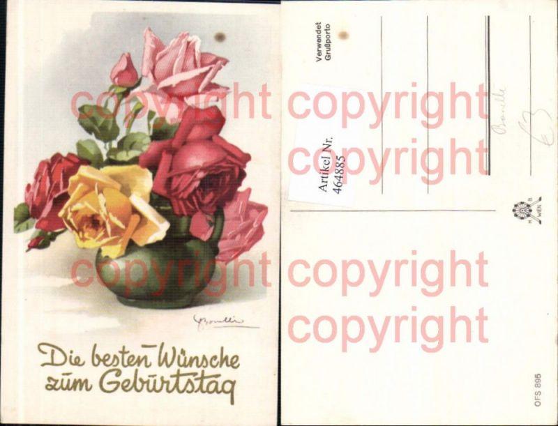 Künstler Ak Bonelli Blumen Gelbe Rosa Rote Rosen Krug Vase Geburtstag