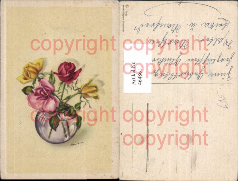 Künstler Ak Blumen Gelbe Rosa Rote Rosen Vase