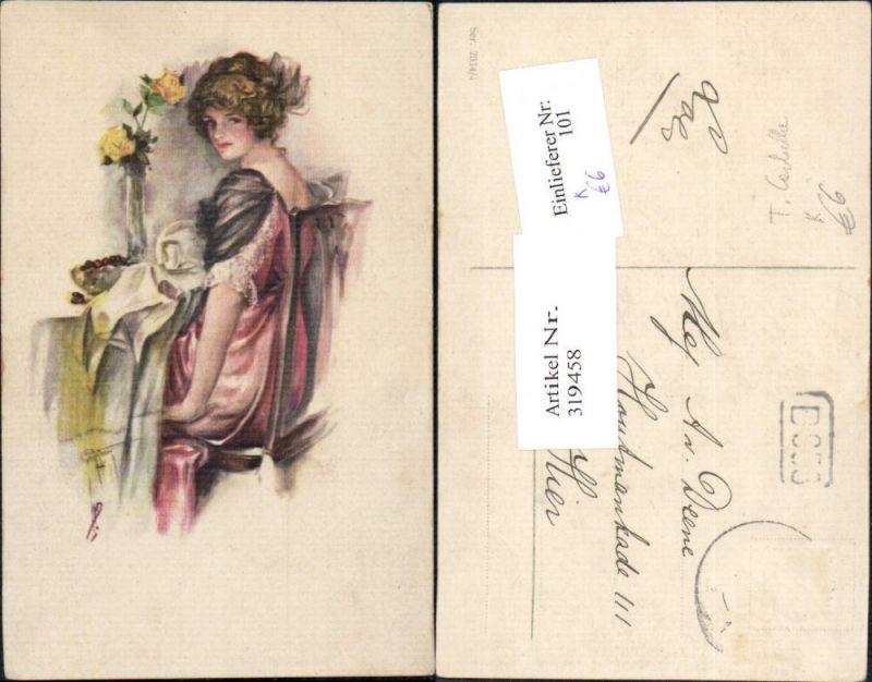 Künstler Ak T. Corbella Frau Kleid a. Tisch Rosen i. Vase
