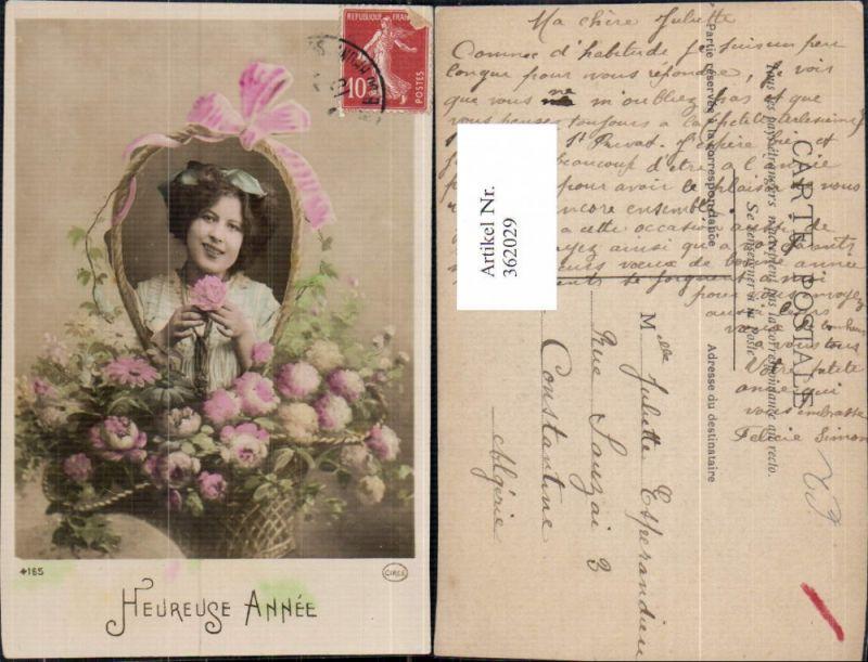 Frau Haarschleife Korb m. Blumen Schleife Heureuse Annee