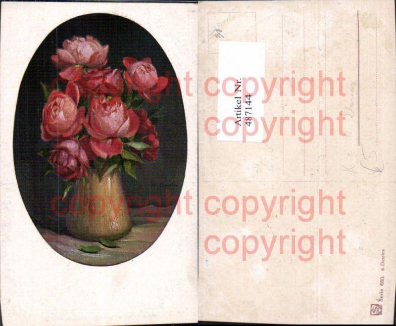Künstler Ak N. Davis Rote Rosen Vase Blumen Passepartout