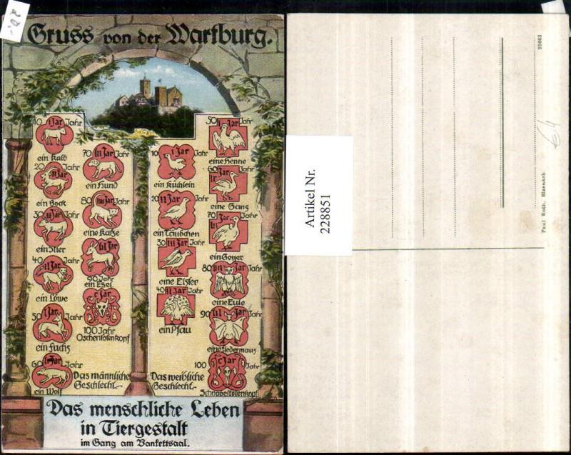 Gruß v. d. Wartburg b. Eisenach Das menschliche Leben in Tiergestalt im G