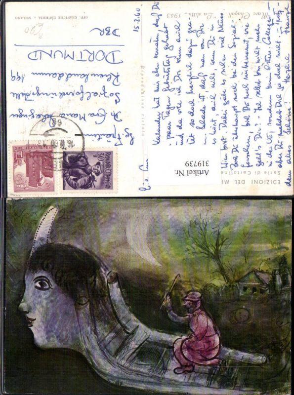 Künstler Ak Marc Chagall La slitta Schlitten m. Kopf