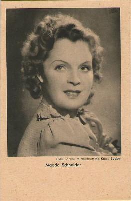Orig. Autogrammkarte Magda Schneider Foto Adler