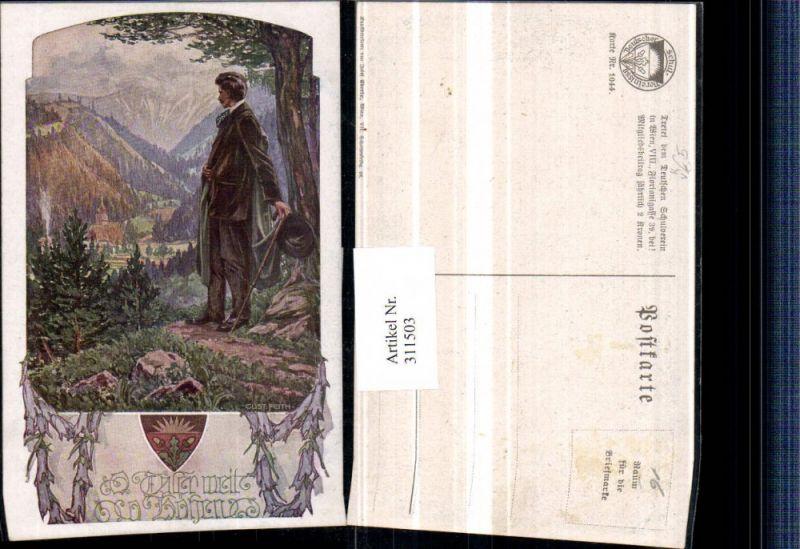 Deutscher Schulverein 1044 Künstler Gustav Feith Mann m. Hut Stock Tal Ki