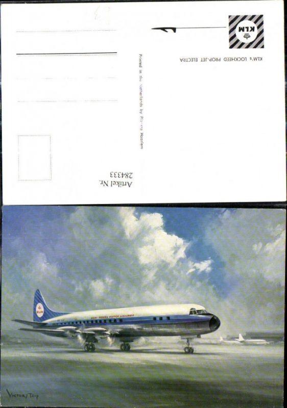 Künstler Ak Victor Trip Flugzeug KLM Lockheed Prop Jet Electra